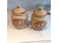 Cornish pottery canisters