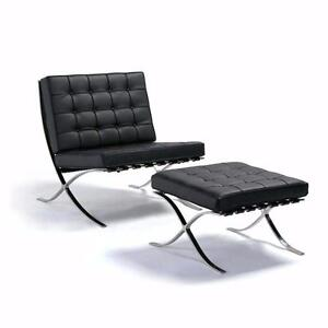 Barcelona Chair with Ottoman + FLASH SALE + Free Shipping to Canada and US