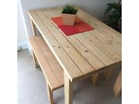Wooden Quality handmade garden/kitchen dining table and two sturdy benches