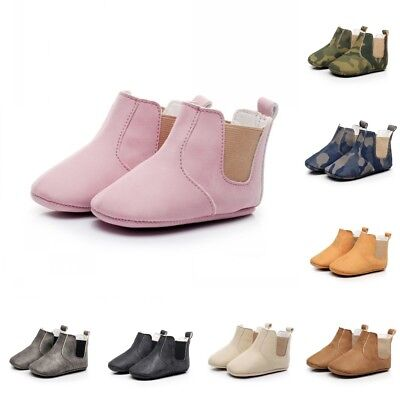 PU UK Leather Baby Shoes Infant Toddler Boys Girls Boots Soft Soled Kids Booties