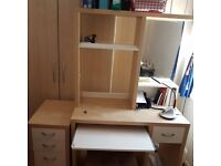 Ikea Desk and drawer cabinet, both on wheels