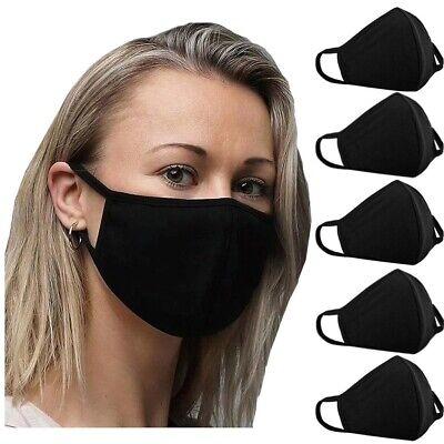 5 x Mund-Nasen-Maske Stoffmaske Gesichtsmaske 100% Baumwolle Waschbar Schwarz