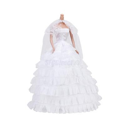 Handmade White Wedding Party Bridal Gown Dress Clothes Outfit for Barbie Doll on Rummage