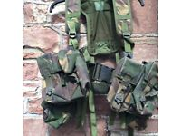 Army combat webbing yoke including pouches
