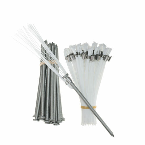 Marking Flags White 6 Inch Whiskers with Upgraded Hard Ground Stakes 20 Pack