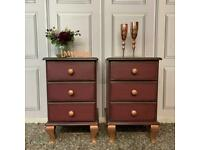 Pair Bedside Cabinets Solid Wood Painted