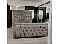 🔥🔥DOUBLE 4FT6 KING SIZE 5FT 🔥🔥 BRAND NEW PLUSH VELVET FABRIC HEAVEN DOUBLE BED FRAME GREY COLOR