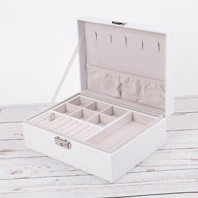 Jewelry Box Organizer Display Dual Layer Case For Rings Necklace White