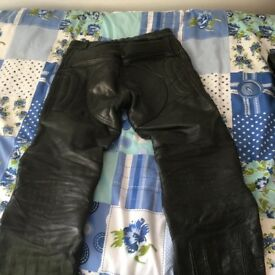 REAL LEATHER MOTORBIKE TROUSERS