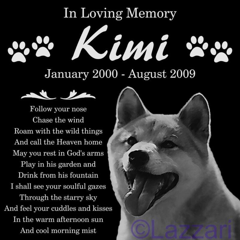 Personalized Akita Dog Pet Memorial 12x12 Granite Headstone Grave Marker
