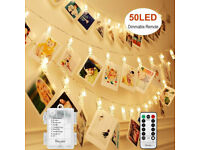 DECUTE UNGRADED 50 LED DIMMABLE PHOTO CLIPS LIGHTS STRING HOLDER WITH REMOTE TIM