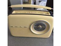 Bush classic retro radio in cream & blue & in perfect working order