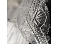 Waterford handmade crystal fruit bowl with scrolled feet.