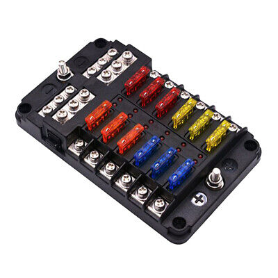 12- way LED Indicator Automotive Fuse Holder Box with PC Cover waterproof