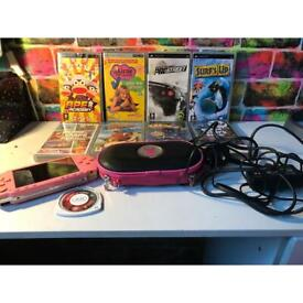 Pink psp, games, case and charger