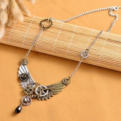 Steampunk Hand Feder Flügel Anhänger Halskette Kette für frauen männer ()