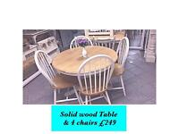 Solid wooden table & 4 chair shabby chic