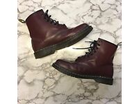 Dr Martens Docs 8 Eyelet Cherry Red Smooth Boots, size 10 UK - RRP £110, selling for £50 ono