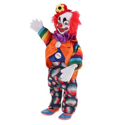 23cm lustige orange Kleidung Clown Man Doll w. Rotes Haar Halloween ()