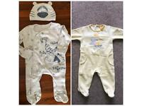 Excellent condition 2x sleepsuits 0-3