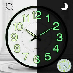 Wall Clock Glow In The Dark Silent Quartz Indoor Outdoor Luminous Home Decor USA