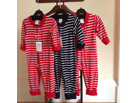 Three Polarn O.Pyret STRIPE BABY ALL-IN-ONE size 9-12 months. Like new.