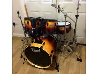 Fully Refurbished Pearl ELX Drum Kit Amber Fade Lacquer