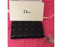 Dior black lambskin long wallet with zipper silver hardware