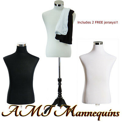 2 Male Mannequin Torsos Covers To Renew Dress Form Size S-2male Jerseys-wblk