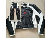 DAINESE LADIES SIZE 48 BLACK / WHITE / GRAPHITE 2 PIECE LEATHERS
