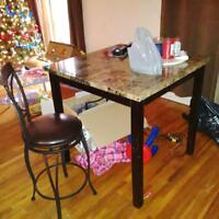 Faux marble top bar table and 4 chairs*