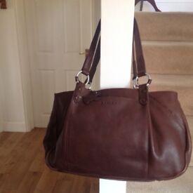 Large brown Radley leather shoulder bag.
