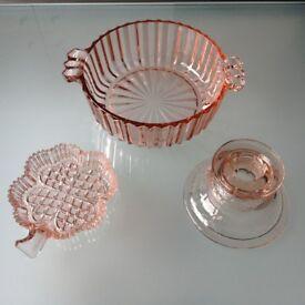 PINK GLASS BOWL, CANDLE HOLDER & CLOVER DISH SET