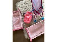 Baby doll play dolls collection doll pushchair carry seat and bunk beds