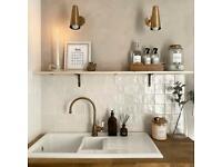 Zellige Tiles White Satin/Gloss Square Oyster Moroccan Handmade Style 10cm X 10cm