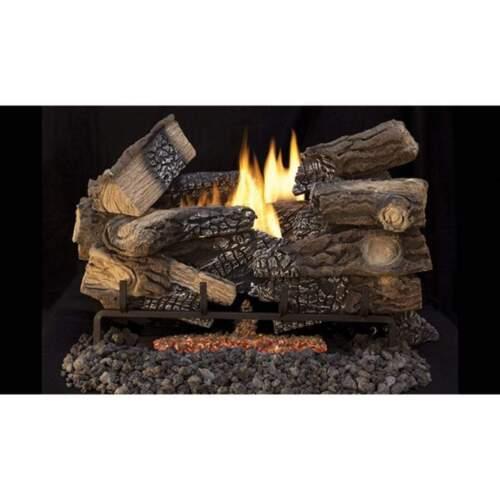 "Superior Fireplace 24"" Massive Mixed Oak Triple-Flame Ceramic Fiber Log Set"