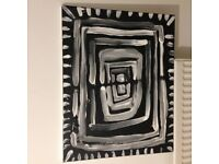 original abstract black and white painting