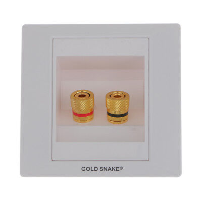 Speaker Terminal Wall Face Plate with 2 Gold Binding Post Banana Plug Port Gold Wall Plate