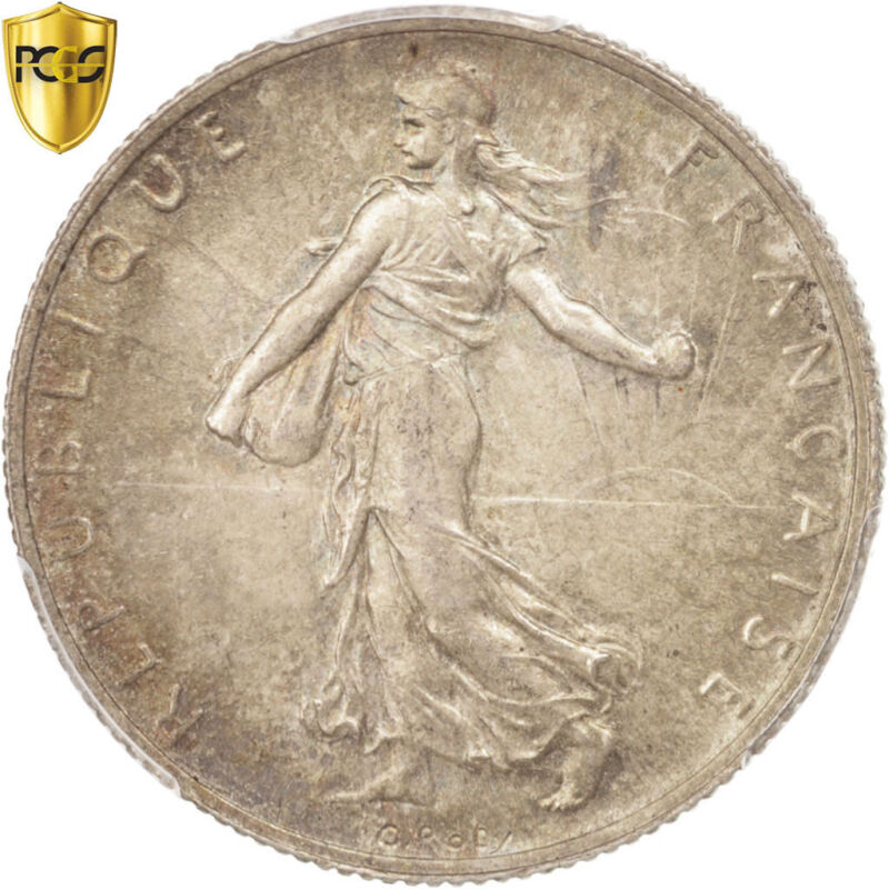 [#96488] France, Semeuse, 2 Francs, 1920, Paris, PCGS, MS64, Silver, KM:845.1