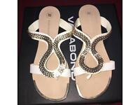 River island white and gold sandals