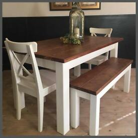 STUNNING NEW HANDMADE 5FT PINE FARMHOUSE TABLE CHAIRS AND BENCHES