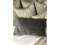 Grey beaded rectangular cushion – immaculate