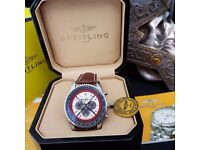New Mens bagged and boxed breitling navitimer red arrow chronograph watch with leather strap