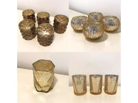 Assorted Gold 'Mercury Glass Style' Glassware- 13 pcs- Perfect for Wedding