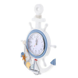Wall Clock - Ship Wheel&Anchor Design Nautical Beach Seaside Themed - 33cm e