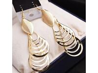 Gorgeous National Style Vintage Hollow Out Water Drop Retro Gold Earrings