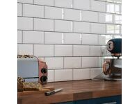 Brick Effect Wall Tiles White Traditional Bathroom/Kitchen