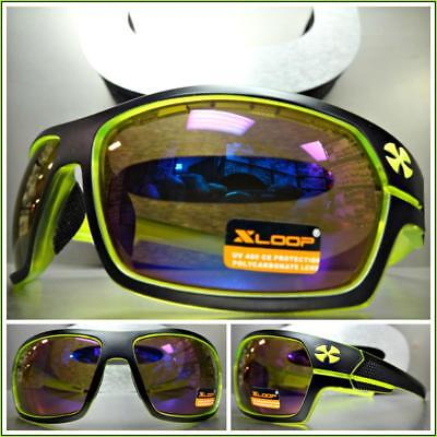 ee3633f0c0e WRAP AROUND SPORT Motorcycle Riding Driving SUN GLASSES Black   Neon Green  Frame