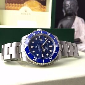 New boxed & bagged silver strap blue face rolex submariner