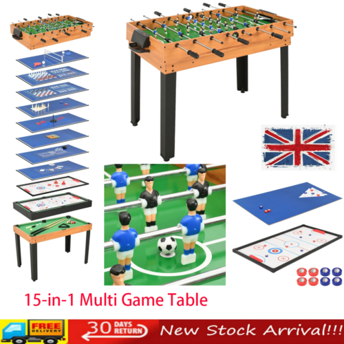 New Deluxe 15-in-1 Multi Games Table Pool Football Table Hockey Indoor Home Game